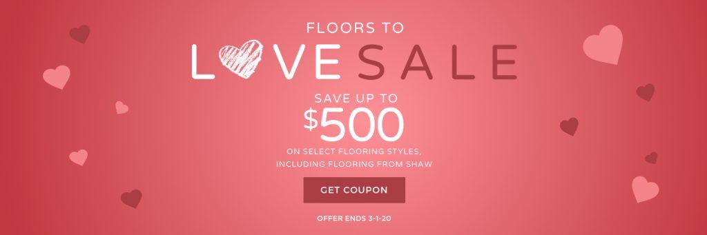 Floors to love sale banner | West Michigan Carpet Center