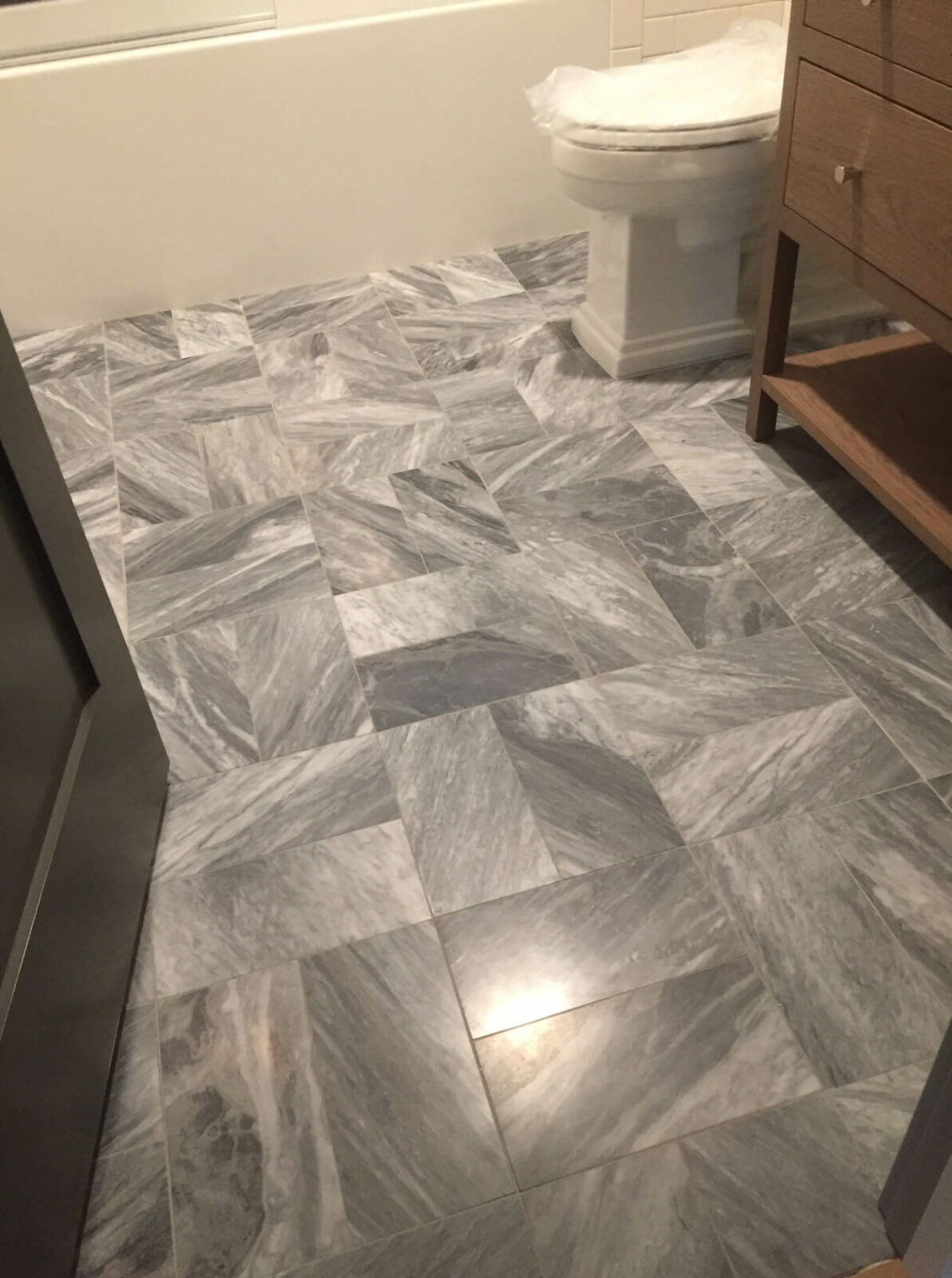 Tile flooring in the bathroom